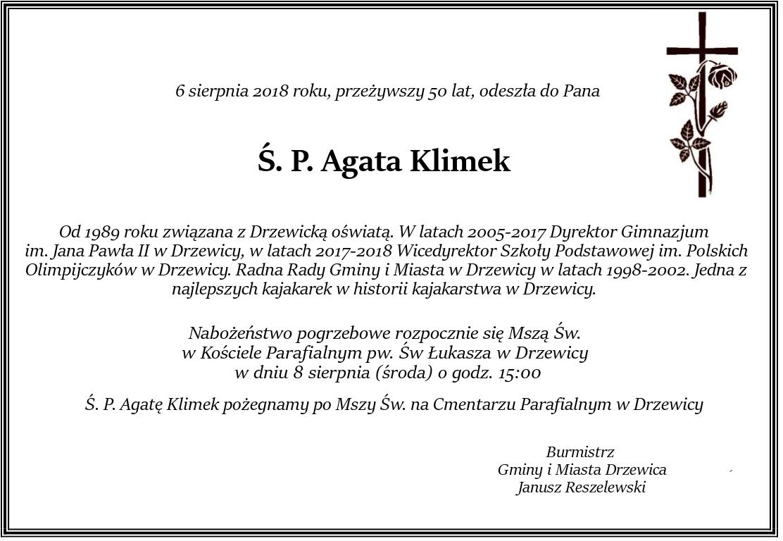 Nekrolog Ś.P. Agaty Klimek